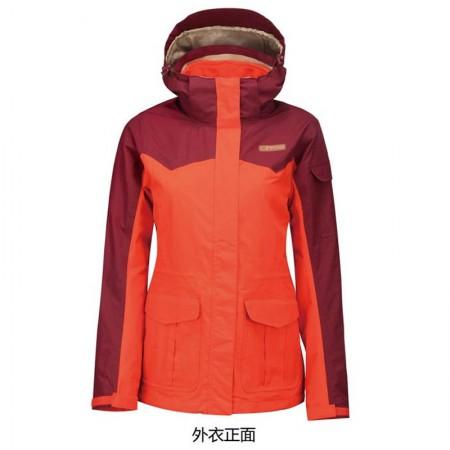 探路者女款套绒两件套防雨防风三合一冲锋衣橙红