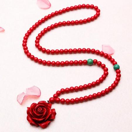 珠来珠往玫瑰花开红朱砂项链