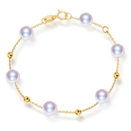 安妮18K金星光珍珠手链