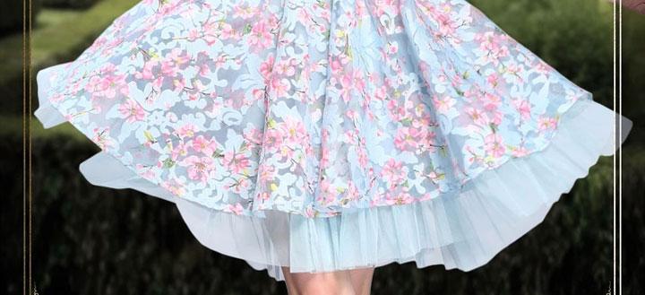 【珍思薇尼立体花朵刺绣连衣裙